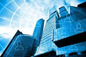 Dark blue skyscrapers in business centre